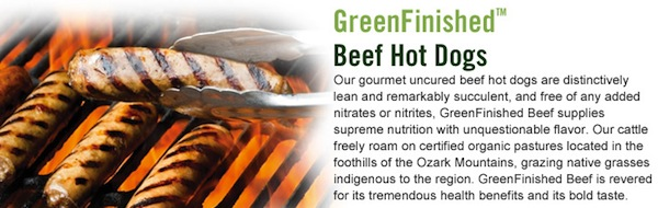 Beyond Organic GreenFInished Hot Dogs