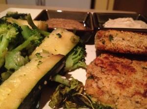 Salmon Cakes and Veggies