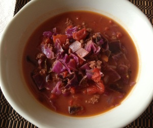 cabbage soup with beyond organic beef & cheddar sausage bowl