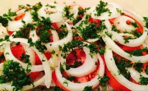 baked mahi-mahi with dill, onion, and tomato