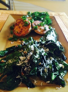 salmon cakes with garlic spinach